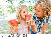 Junge gibt seiner Schwester ein Stück frische Melone im Sommer in... Стоковое фото, фотограф Zoonar.com/Robert Kneschke / age Fotostock / Фотобанк Лори