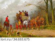 Wright George - Passing the Hunt - British School - 19th Century. Редакционное фото, фотограф Artepics / age Fotostock / Фотобанк Лори