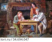 Hardy II James - the Draughts Players - British School - 19th Century. Редакционное фото, фотограф Artepics / age Fotostock / Фотобанк Лори