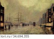 Grimshaw Louis - Glasgow Docks 1 - British School - 19th Century. Редакционное фото, фотограф Artepics / age Fotostock / Фотобанк Лори