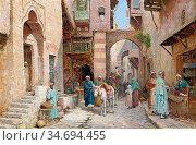 Haddon Arthur Trevor - a Street in Damascus - British School - 19th... Редакционное фото, фотограф Artepics / age Fotostock / Фотобанк Лори