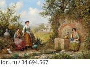 Haddon Arthur Trevor - Collecting Water - British School - 19th Century... Редакционное фото, фотограф Artepics / age Fotostock / Фотобанк Лори
