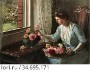 Hayllar Jessica - a Trayful of Roses - British School - 19th Century. Редакционное фото, фотограф Artepics / age Fotostock / Фотобанк Лори