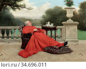 Herrmann Léo - the Cardinal's Nap - French School - 19th Century. Редакционное фото, фотограф Artepics / age Fotostock / Фотобанк Лори