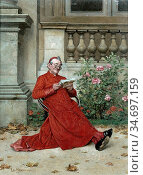 Herrmann Léo - the Cardinal Reading 'nana' - French School - 19th... Редакционное фото, фотограф Artepics / age Fotostock / Фотобанк Лори