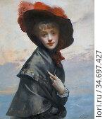 Jacquet Gustave Jean - La Coquette (Dame Au Chapeau) - French School... Редакционное фото, фотограф Artepics / age Fotostock / Фотобанк Лори