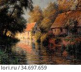 Knight Louis Aston - Along the River Beaumont-Le-Roger - French School... Редакционное фото, фотограф Artepics / age Fotostock / Фотобанк Лори