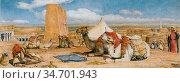 Lewis John Frederick - the Caravan - an Arab Encampment at Edfou ... Редакционное фото, фотограф Artepics / age Fotostock / Фотобанк Лори