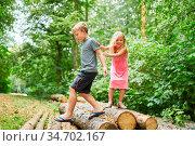 Zwei Geschwister Kinder klettern zusammen auf Baumstämme in der Wildnis. Стоковое фото, фотограф Zoonar.com/Robert Kneschke / age Fotostock / Фотобанк Лори