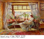 Lewis Charles James - Reading by the Window - British School - 19th... Редакционное фото, фотограф Artepics / age Fotostock / Фотобанк Лори