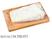 Piece of local italian Gorgonzola soft blue cheese on olive wood cutting... Стоковое фото, фотограф Zoonar.com/Valery Voennyy / easy Fotostock / Фотобанк Лори