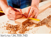 Handwerker mit Zollstock und Bleistift beim Holz Abmessen in der ... Стоковое фото, фотограф Zoonar.com/Robert Kneschke / age Fotostock / Фотобанк Лори