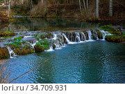 Hasenbach-Wasserfall, Schwaebische Alb, bei Hayingen nahe der Wimsener... Стоковое фото, фотограф Zoonar.com/Jürgen Vogt / easy Fotostock / Фотобанк Лори