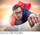 Flying super hero over the city. Стоковое фото, фотограф Elnur / Фотобанк Лори