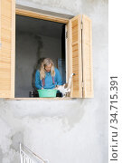 A cat in the window where Lisa is working with the renovation of ... (2007 год). Редакционное фото, фотограф Andre Maslennikov / age Fotostock / Фотобанк Лори