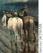 Hagemans Maurice - Lijnloper Met Zijn Paarden Nabij De Aak - Belgian... (2020 год). Редакционное фото, фотограф Artepics / age Fotostock / Фотобанк Лори