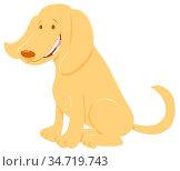 Cartoon Illustration of Happy Beige Dog Domestic Animal Character. Стоковое фото, фотограф Zoonar.com/Igor Zakowski / easy Fotostock / Фотобанк Лори