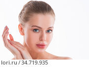 Perfect female face and hands closeup. Healthy Woman. Facial treatment... Стоковое фото, фотограф Zoonar.com/Ivan Mikhaylov / easy Fotostock / Фотобанк Лори