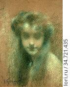 Levy-Dhurmer Lucien - Portrait De Jeune Femme a La Longue Chevelure... Стоковое фото, фотограф Artepics / age Fotostock / Фотобанк Лори