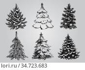 Set of Dreawn Christmas Trees. Стоковая иллюстрация, иллюстратор Миронова Анастасия / Фотобанк Лори