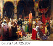 Mauzaisse Jean Baptiste - Louis VII Takes the Standard at Saint-Denis... Стоковое фото, фотограф Artepics / age Fotostock / Фотобанк Лори