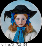O 'neil Henry Nelson - Girl with Blue Bow and Black Bonnet - British... Редакционное фото, фотограф Artepics / age Fotostock / Фотобанк Лори