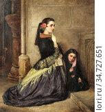 Phillip John - Spanish Girls at Prayer - British School - 19th Century... Редакционное фото, фотограф Artepics / age Fotostock / Фотобанк Лори