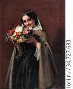 Phillip John - Young Girl Holding a Basket of Flowers - British School... Редакционное фото, фотограф Artepics / age Fotostock / Фотобанк Лори