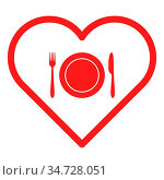 Besteck und Herz - Cutlery and heart. Стоковое фото, фотограф Zoonar.com/Robert Biedermann / easy Fotostock / Фотобанк Лори