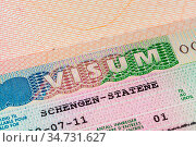 European schengen visa in passport - travel background. Стоковое фото, фотограф Zoonar.com/Nikolai Sorokin / easy Fotostock / Фотобанк Лори