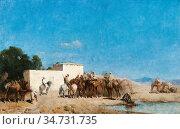 Regnault De Maulmain Emile - La Halte a L 'oasis - French School - ... Стоковое фото, фотограф Artepics / age Fotostock / Фотобанк Лори