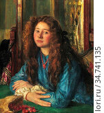 Steer Philip Wilson - the Blue Girl - British School - 19th Century. Редакционное фото, фотограф Artepics / age Fotostock / Фотобанк Лори