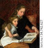 Walker Arthur George - Two Girls Reading - British School - 19th ... Редакционное фото, фотограф Artepics / age Fotostock / Фотобанк Лори