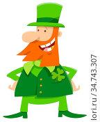 Cartoon Illustration of Funny Leprechaun on Saint Patrick Day. Стоковое фото, фотограф Zoonar.com/Igor Zakowski / easy Fotostock / Фотобанк Лори