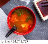 Asian spicy tomato soup. Стоковое фото, фотограф Яков Филимонов / Фотобанк Лори