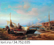 Jacobs Jacob Albrecht - Arab Dhows on the Lebanon Coast - Belgian... Редакционное фото, фотограф Artepics / age Fotostock / Фотобанк Лори