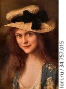 Lynch Albert - Portrait De Jeune Fille Au Chapeau De Paille - French... Редакционное фото, фотограф Artepics / age Fotostock / Фотобанк Лори
