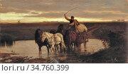 Lotz Károly - Horse Cart at Dusk - Hungarian School - 19th Century. (2020 год). Редакционное фото, фотограф Artepics / age Fotostock / Фотобанк Лори