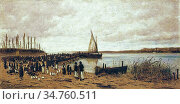 Meszoly Geza - Crossing at SzántóD - Hungarian School - 19th Century. Редакционное фото, фотограф Artepics / age Fotostock / Фотобанк Лори