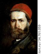 Lotz Károly - Self Portrait - Hungarian School - 19th Century. Редакционное фото, фотограф Artepics / age Fotostock / Фотобанк Лори