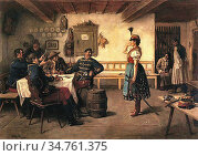 Dery Koloman - the Flirt - Hungarian School - 19th Century. Редакционное фото, фотограф Artepics / age Fotostock / Фотобанк Лори