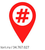 Hashtag und Kartenmarkierung - Hashtag and location pin. Стоковое фото, фотограф Zoonar.com/Robert Biedermann / easy Fotostock / Фотобанк Лори