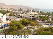Cityscape of Aqaba at sunny day, aerial view (2018 год). Редакционное фото, фотограф EugeneSergeev / Фотобанк Лори