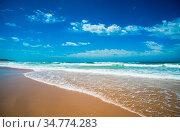 Yellow sand beach, sea and deep blue sky. Стоковое фото, фотограф Zoonar.com/Konstantin Kalishko / easy Fotostock / Фотобанк Лори