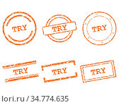 Try Stempel - Try stamps. Стоковое фото, фотограф Zoonar.com/Robert Biedermann / easy Fotostock / Фотобанк Лори