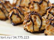 Spanish coconut biscuits sprinkled with chocolate. Стоковое фото, фотограф Яков Филимонов / Фотобанк Лори