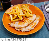 Grilled pork loin chops with french fries. Стоковое фото, фотограф Яков Филимонов / Фотобанк Лори