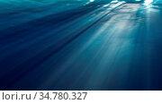 High quality ocean waves from realistic underwater. Light rays shining... Стоковое фото, фотограф Zoonar.com/Roman Budnikov / easy Fotostock / Фотобанк Лори