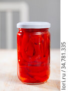 Glass jar with pickled red bell pepper. Стоковое фото, фотограф Яков Филимонов / Фотобанк Лори
