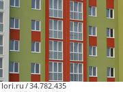Fragment of a new multi-storey residential public building. Редакционное фото, фотограф Сергей Трофименко / Фотобанк Лори